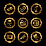 Guld- hollywood film, teaterkapacitet stock illustrationer