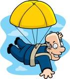 guld- hoppa fallskärm royaltyfri illustrationer