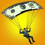 Guld- hoppa fallskärm affärsidékassa vektor illustrationer