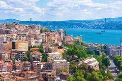 Guld- horn i Istanbul fotografering för bildbyråer