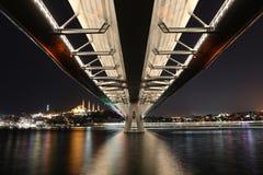 Guld- horn- tunnelbanabro i Istanbul, Turkiet Royaltyfria Bilder