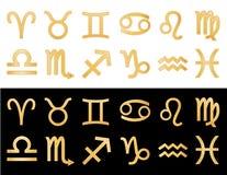 guld- horoskopsymboler stock illustrationer