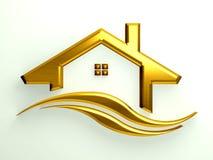 Guld- hus med vågor Arkivbild