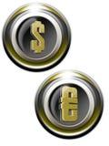 guld- iconsetpengar Arkivfoton