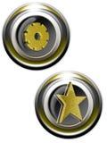 guld- iconsetrengöringsduk stock illustrationer