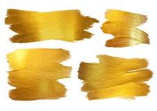 Guld- illustration för abstrakt begrepp för fläck för vattenfärgtexturmålarfärg Glänsande borsteslaglängduppsättning för dig fant fotografering för bildbyråer