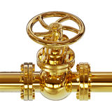 Guld- illustration för rörventil 3D royaltyfri illustrationer