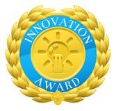 Guld- innovationvinnare Laurel Wreath Medal vektor illustrationer
