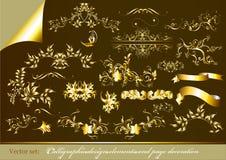 Guld-inramninga calligraphic designelement Vektor Illustrationer