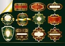 Guld-inramnintt inställd etikettvektor: Vektor Illustrationer