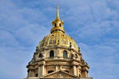 guld- invalidesles paris för kupol Fotografering för Bildbyråer