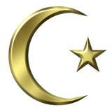 guld- islamiskt symbol 3d Arkivbilder