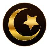 Guld- islamsymbol i bakgrund för mörk brunt Royaltyfria Bilder