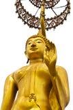 Guld- isolerad buddha staty Royaltyfria Bilder