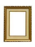 guld- isolerad gammal bild för tom ram arkivbild