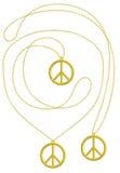Guld- isolerad halsband för fred hänge Fotografering för Bildbyråer