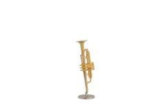 Guld- isolerad trumpetminiatyr Royaltyfri Foto