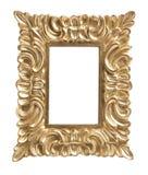 guld- isolerad utsmyckad bild för ram Arkivfoto