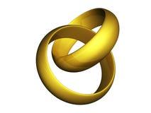 guld- isolerat gifta sig för cirklar Arkivbild