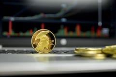 Guld- jättebitcoinmynt med guld- mynt som omkring ligger på ett silvertangentbord av bärbar dator- och diagramdiagramgrafen på a royaltyfria foton