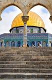 guld- jerusalem för kupol moské Fotografering för Bildbyråer