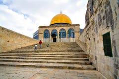 guld- jerusalem för kupol moské Arkivbild