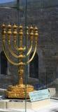 guld- jerusalem menora Arkivfoto