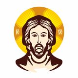 guld- jesus för framsida staty Ortodox kyrka för symbol royaltyfri illustrationer