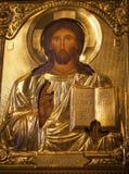 Guld- Jesus Icon Basilica Saint Michael domkyrka Kiev Ukraina Royaltyfri Fotografi