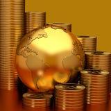 Guld- jord- och bitcoingraf Fotografering för Bildbyråer