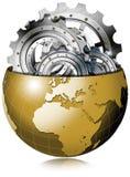 Guld- jordjordklot med metallkugghjul Arkivbilder