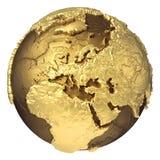 Guld- jordklot Europa stock illustrationer