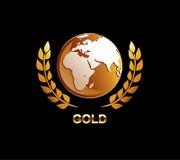 Guld- jordklotillustration Guld- jordklot med lagersymbolen Arkivbilder