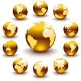 Guld- jordklotmarmorar Arkivbild