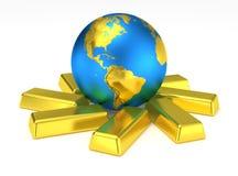 Guld- jordplanet på guld- stänger royaltyfri illustrationer
