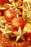 guld- jul Royaltyfri Foto