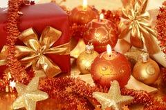 guld- jul Royaltyfri Fotografi
