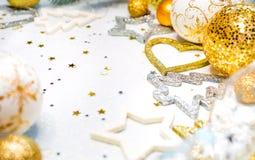 Guld- jul bakgrund, julkort, ställe för text Royaltyfri Fotografi