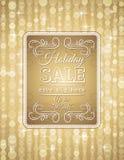 Guld- jul bakgrund och etikett med försäljning av vektor illustrationer