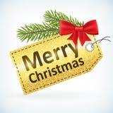 Guld- jul blänker etiketten för glad jul Arkivbild