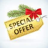 Guld- jul blänker för affärsförsäljningen för det speciala erbjudandet etiketten Arkivfoto