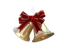guld- jul för klockor 3d Arkivbilder