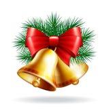 guld- jul för klockor 3d royaltyfri illustrationer