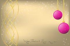 Guld- jul och hälsningkort för nytt år med piink Chrismas stock illustrationer