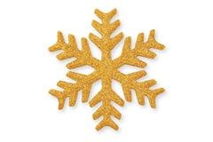 Guld- jul snöflinga, julprydnad på whit arkivbilder