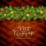 Guld- jul som märker på bakgrund för tegelstenvägg med feriegarneringar stock illustrationer
