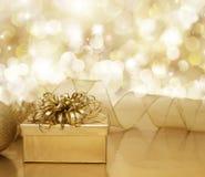 Guld- julbakgrund Royaltyfri Bild