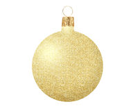 Guld- julboll som isoleras på vit Fotografering för Bildbyråer