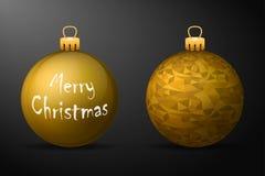 Guld- julbollar med guld- hållare Uppsättning av realistiska garneringar på svart bakgrund royaltyfri illustrationer