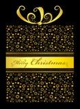 Guld- julgåva på svart Royaltyfria Bilder